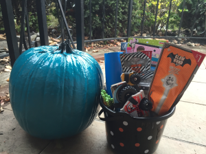 Our teal pumpkin and treats (still in the works...)